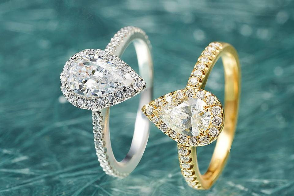 White and yellow gold rings