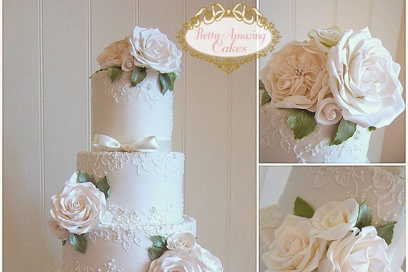 Ivory lace & roses