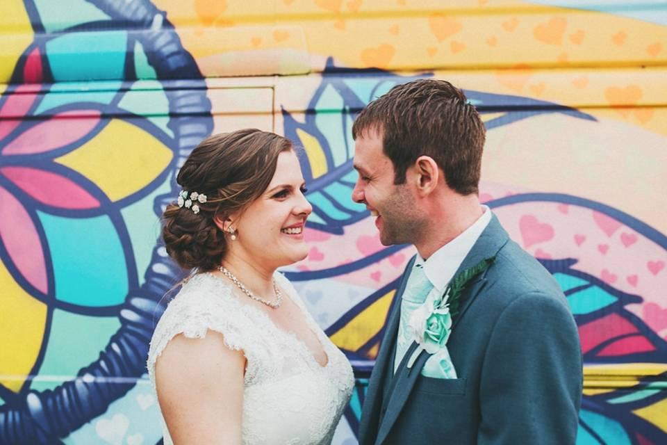 Newlyweds smiling