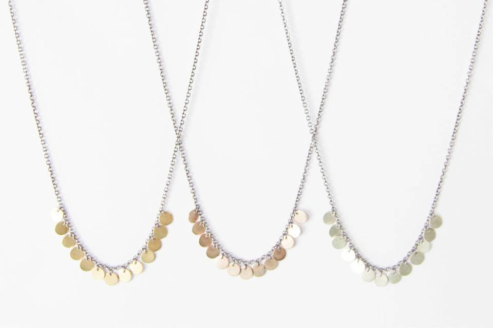 The Occasional Goldsmith necklance in white, rose and yellow gold