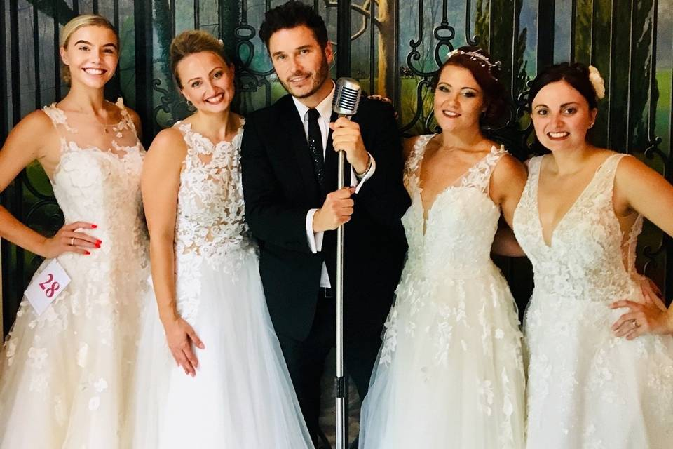 Wedding singer with microphone