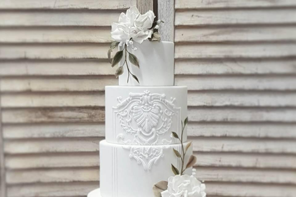 White elegant piped design