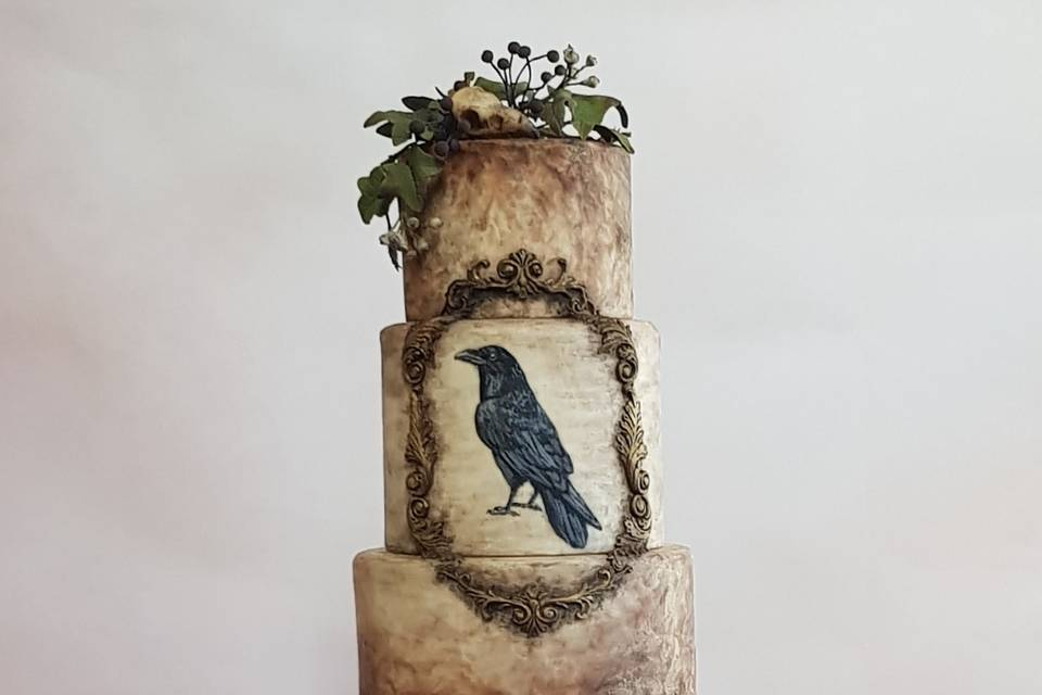 Poe inspired wedding cake
