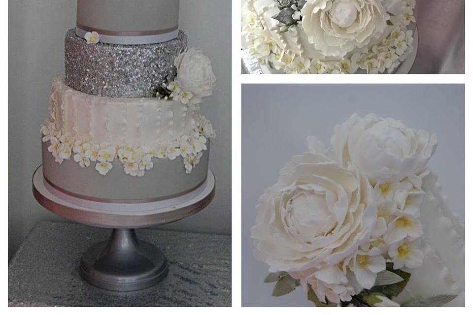 Elegant frills wedding cake