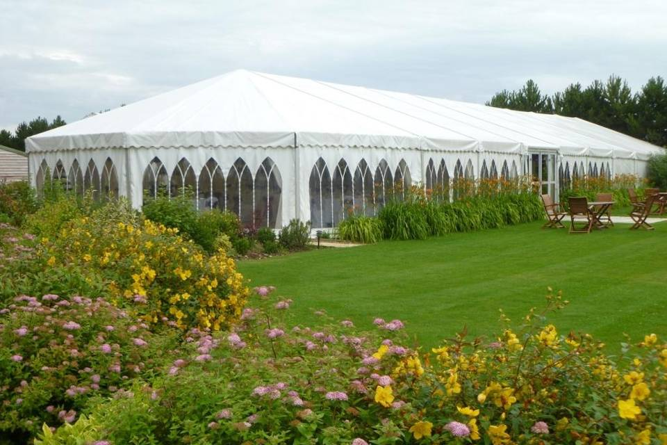 Summer colour surrounding the reception marquee