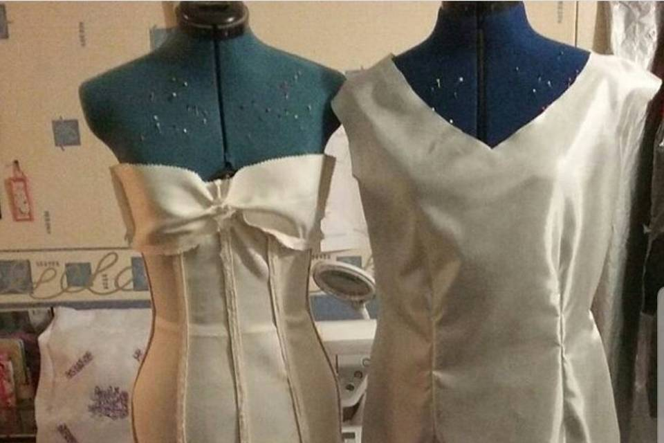 Dresses being made