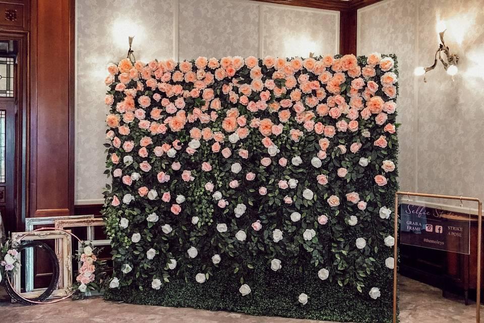 Ombre wedding flower wall
