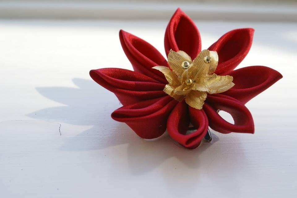 Deep Red Silk Kanzashi