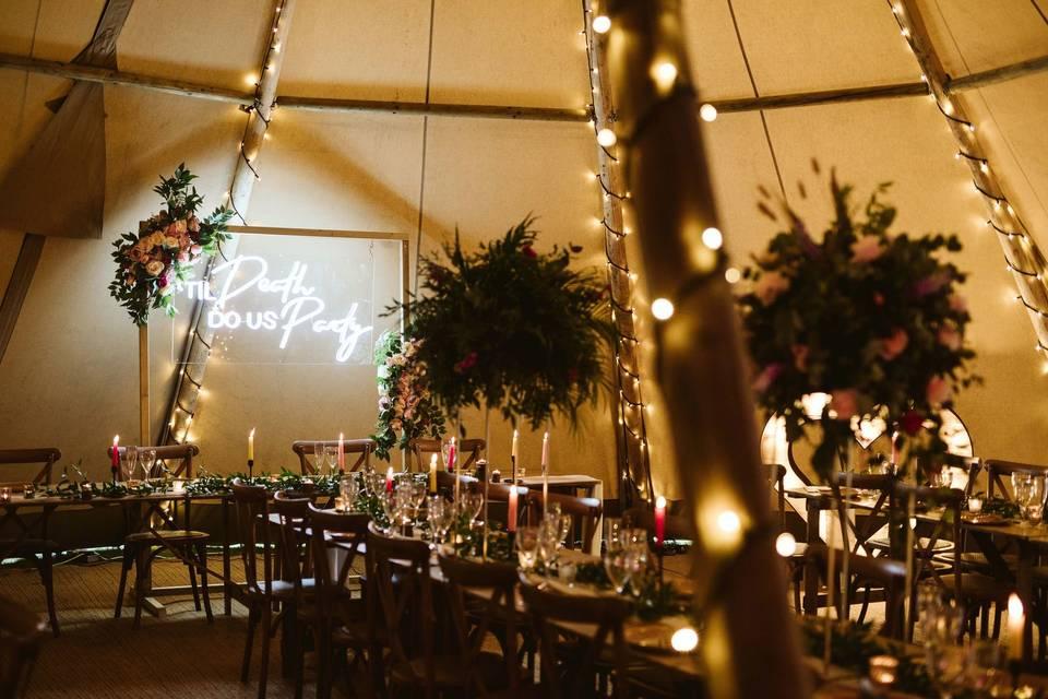 Garden Weddings Interior Tipi