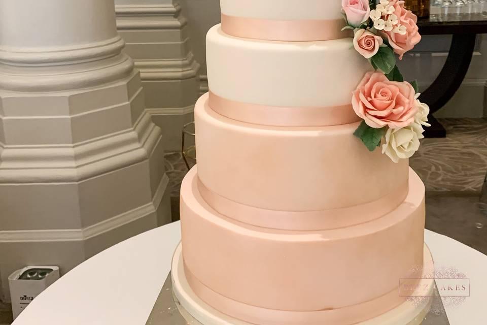 Blush five-tier cake