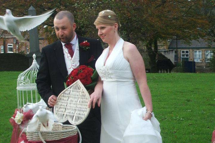 Wedding doves at st pauls stalybridge
