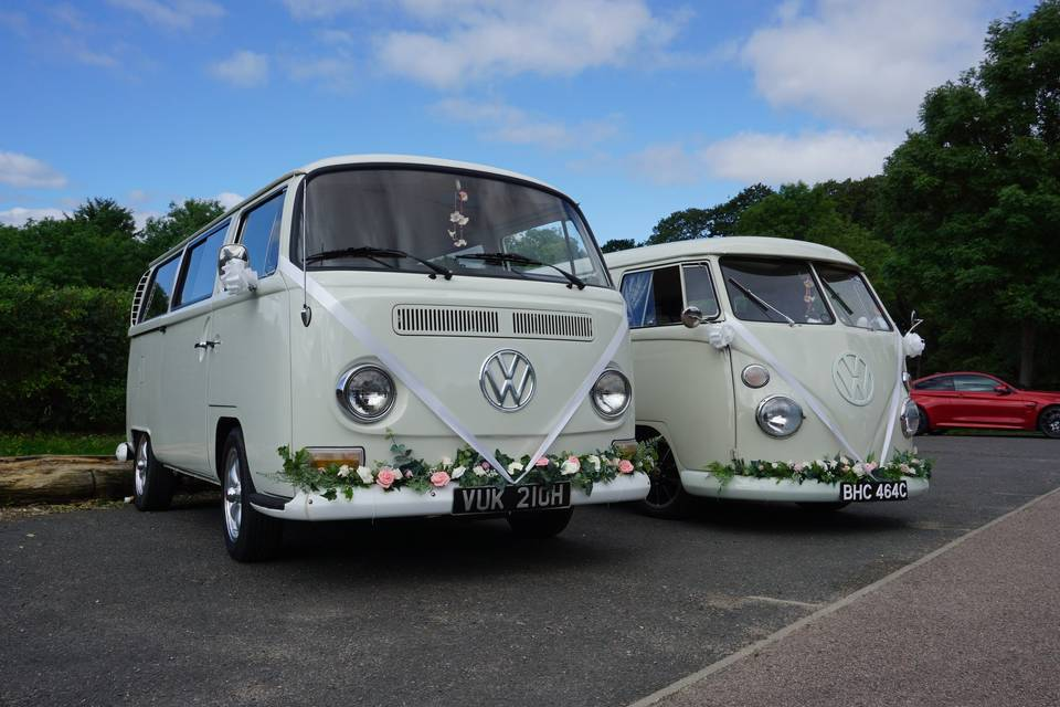 Wedding party transport in VW campers