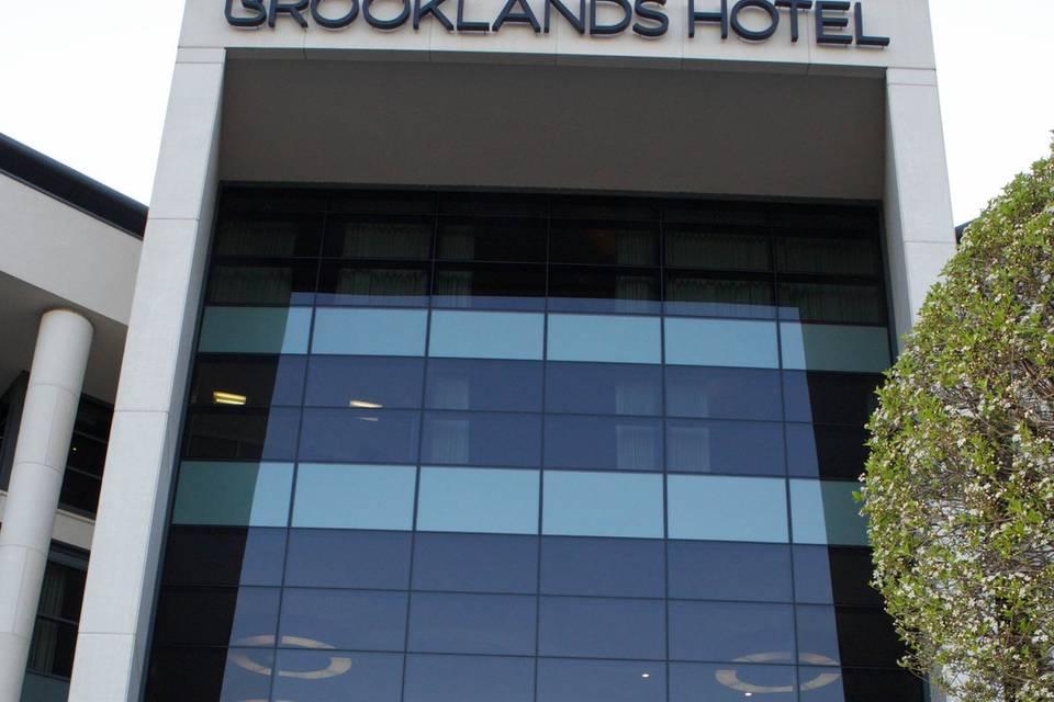 Bride & Groom in front of Brooklands Hotel