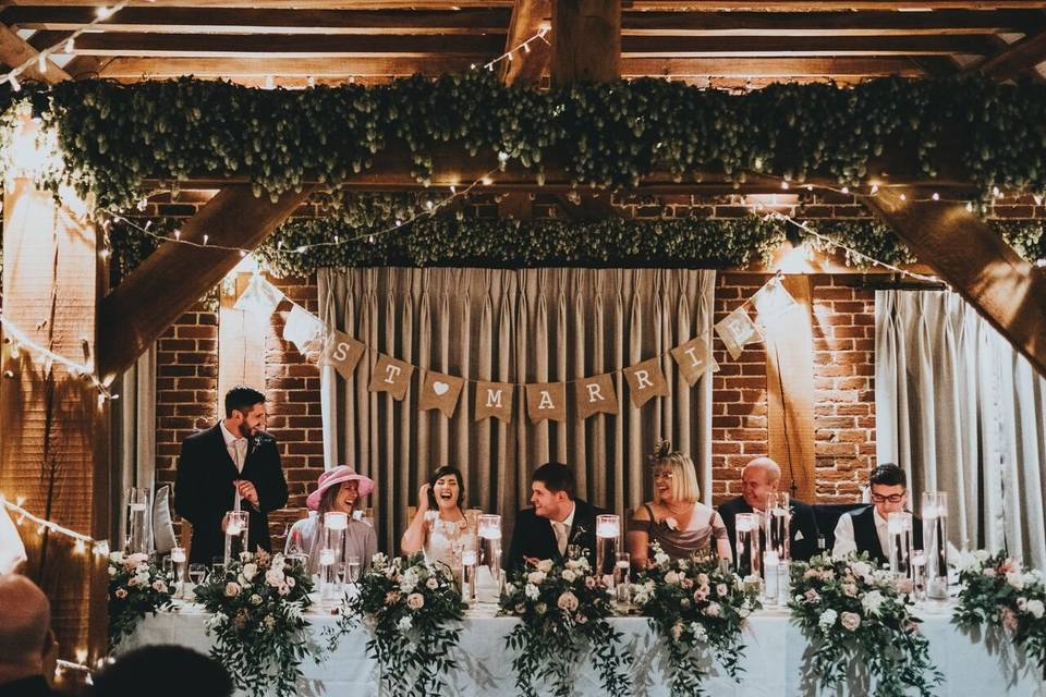 Long top table in the barn