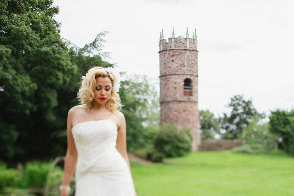 Bride in front of tower