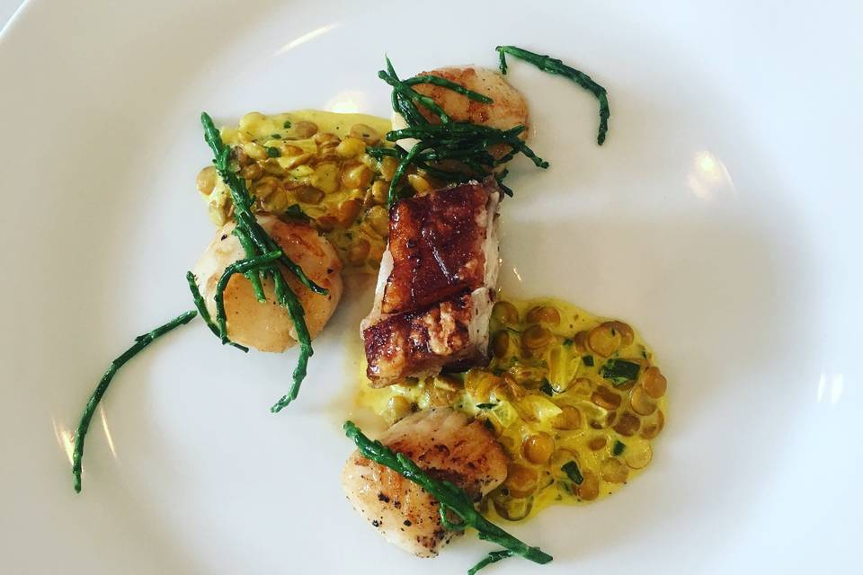 Scallops and curried lentils