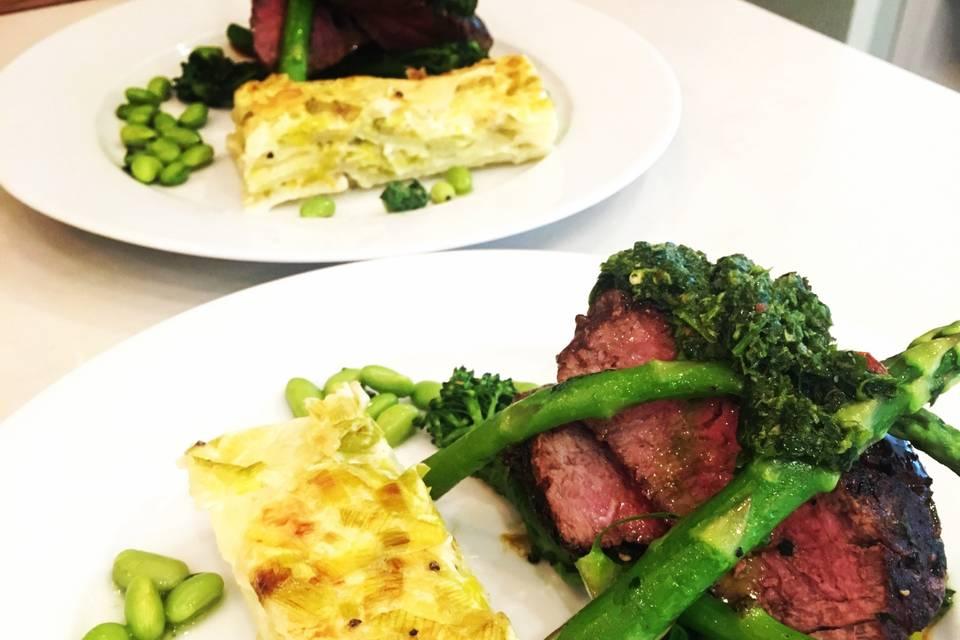 Beef and dauphinoise potatoes