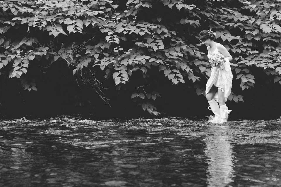 Bride exploring the grounds of Bryngarw House
