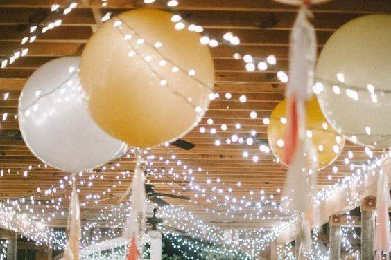 Gold and white balloon decorations