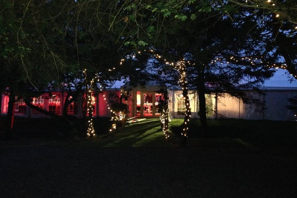 Tournerbury wedding venue by night
