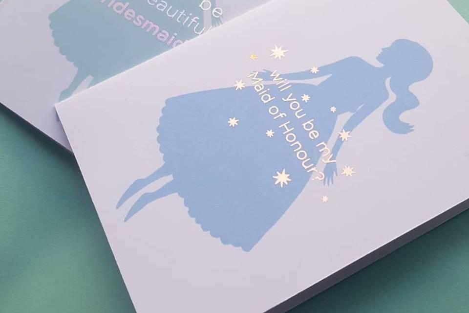 Foiled bridesmaid cards