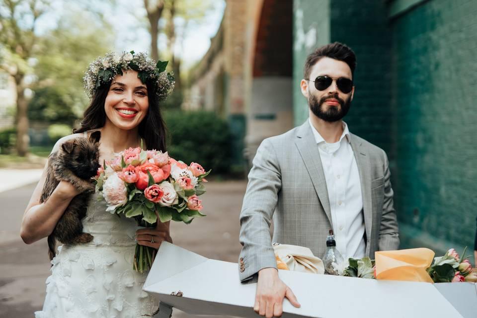 Wedding with puppy