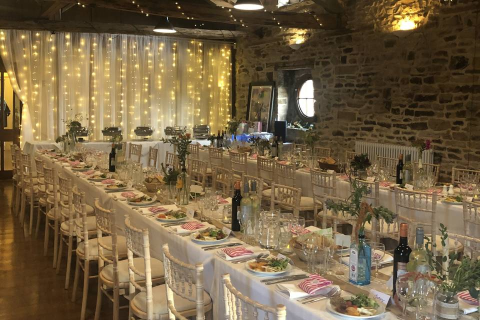 Fairy lights and wooden beams