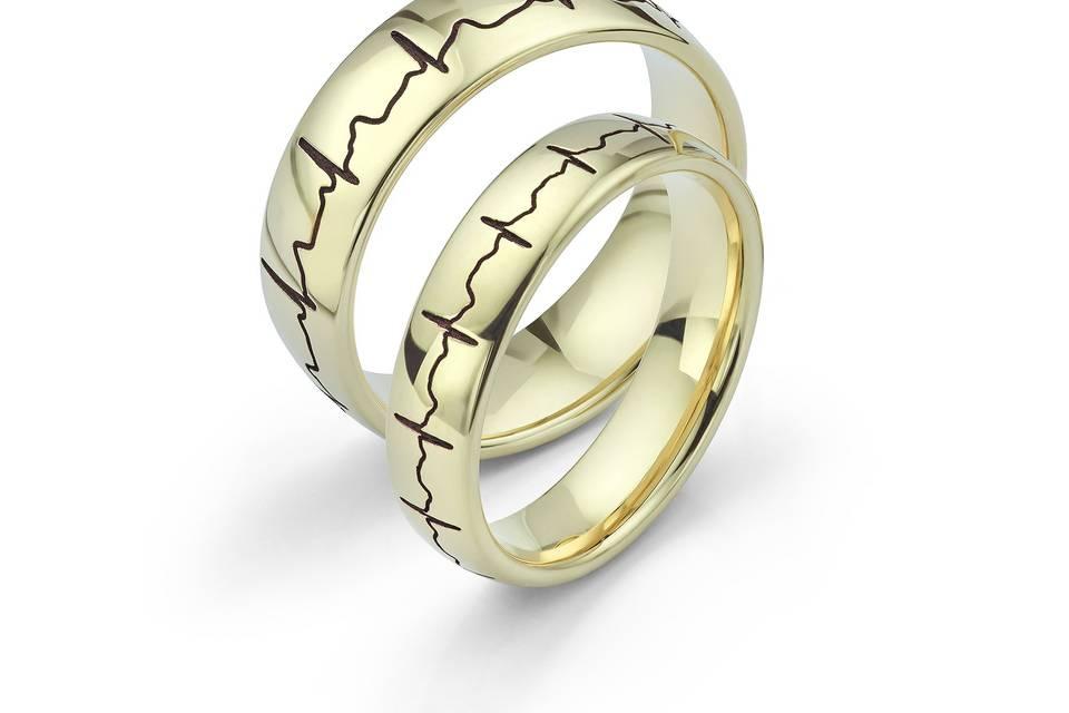 Heartbeat Wedding Rings