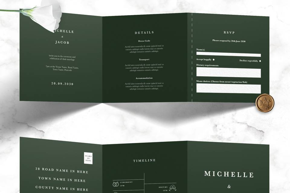 Minimal Trifold Forest Green