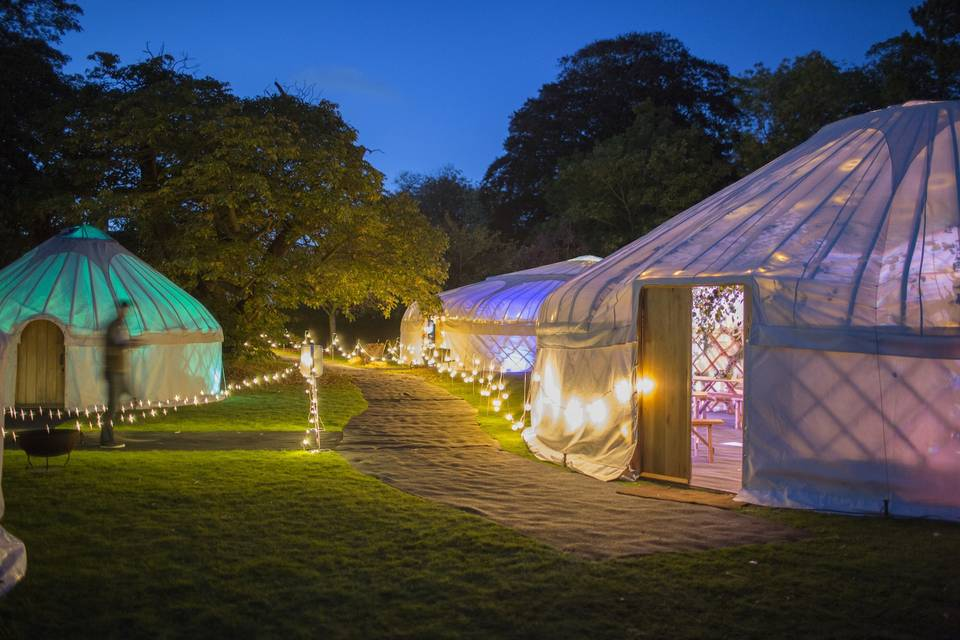 Lit-up tents by night