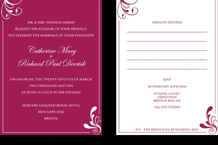 Red swirl evening invitations