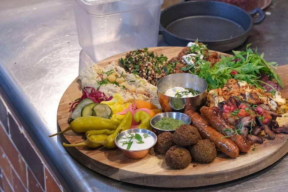 Mixed shawarma sharing boards