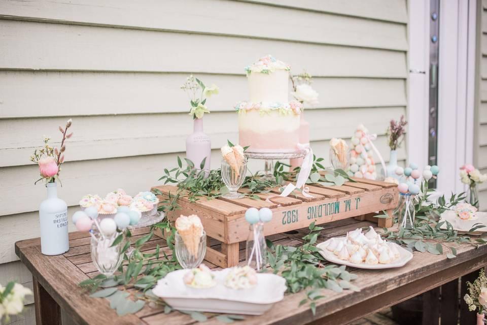 A fun pastel dessert table
