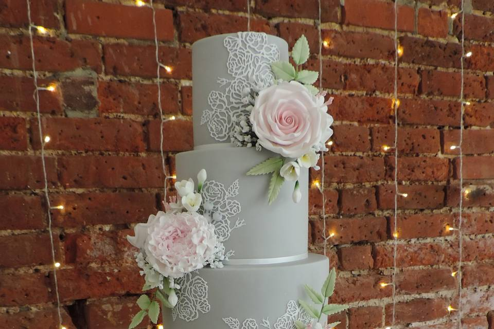 Grey and pink floral lace cake