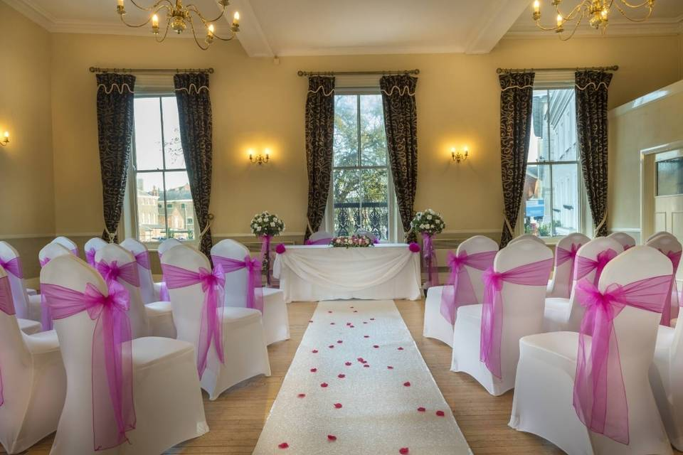Pink chair sashes