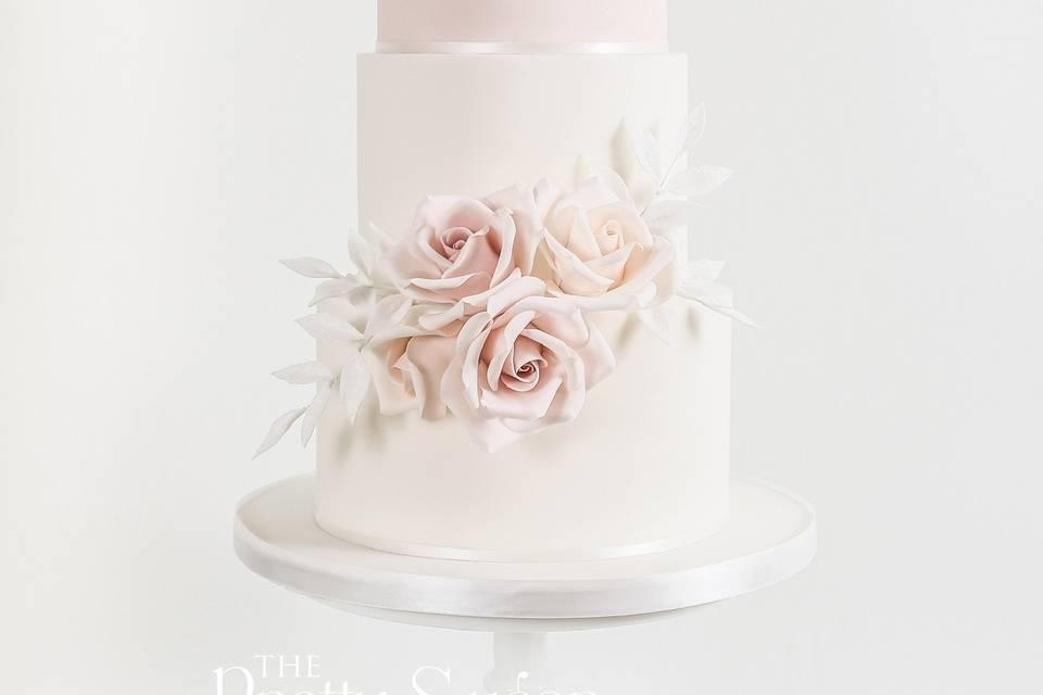 Blush and sparkle wedding cake