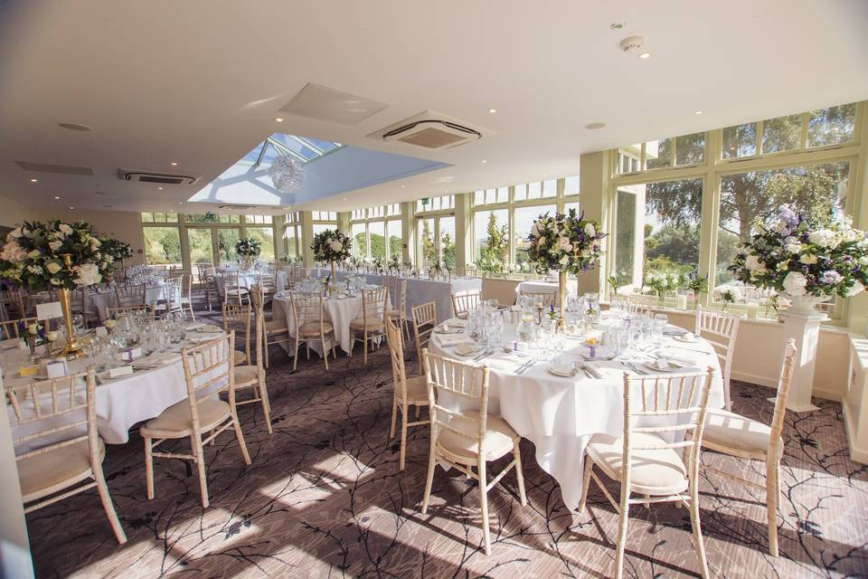 Sun-drenched wedding reception