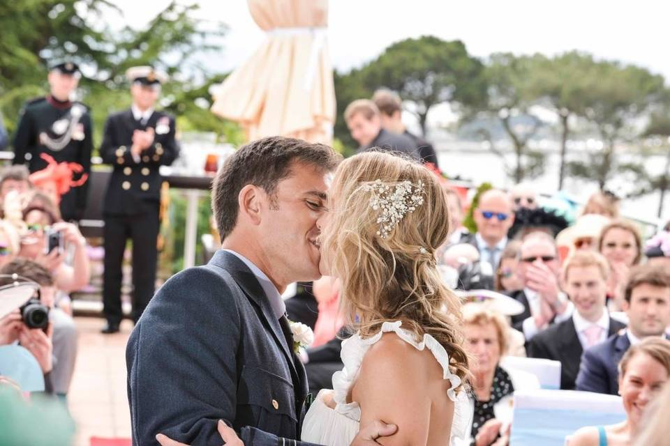 Newlyweds first kiss - Charly Woodhouse Photography