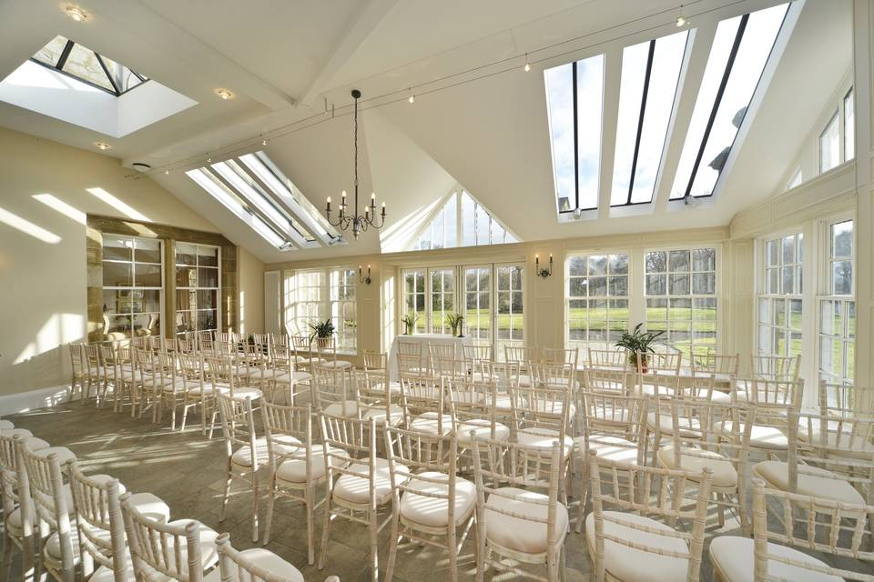 Sunroom set up for ceremony