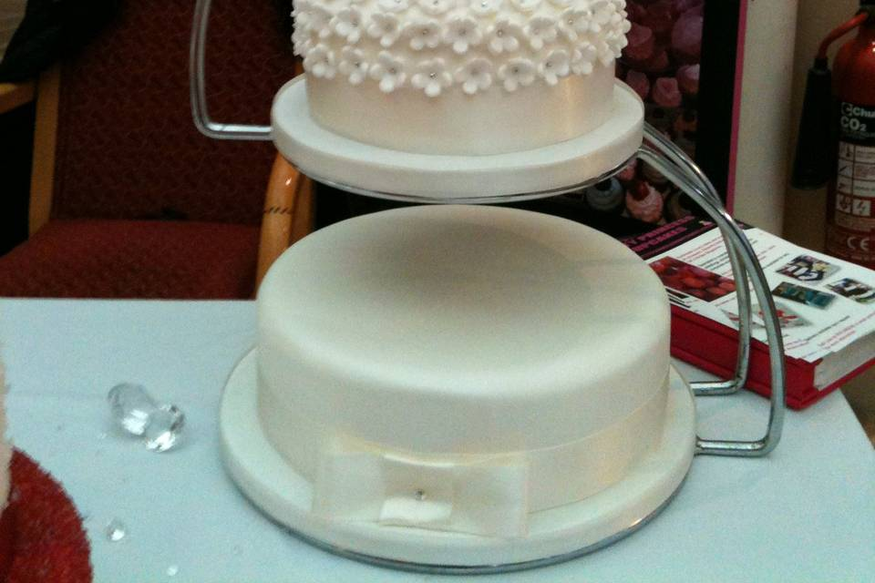 3 tier wedding cake with flower & diamonte detail