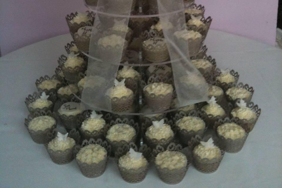 Luxury wedding cupcake tower