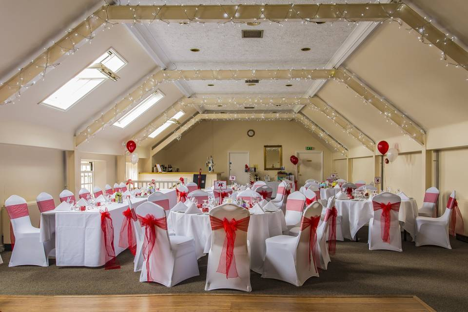 Elegant seat covers with red sashes