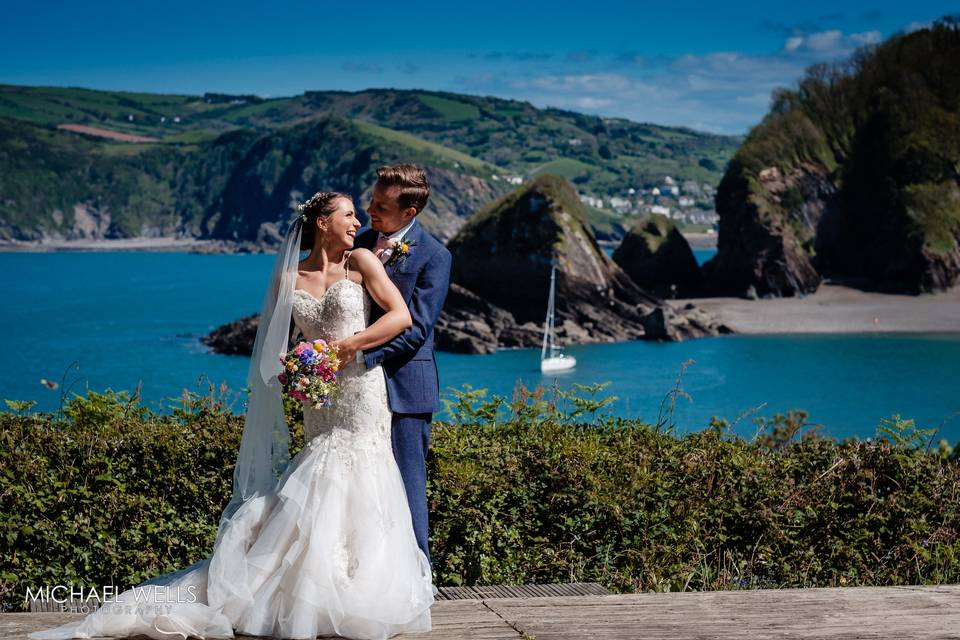 Couple with coastal view