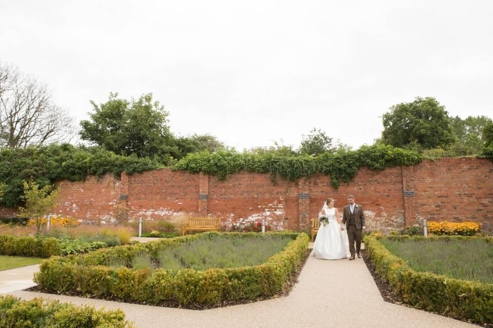 Walking hand in hand in the walled garden