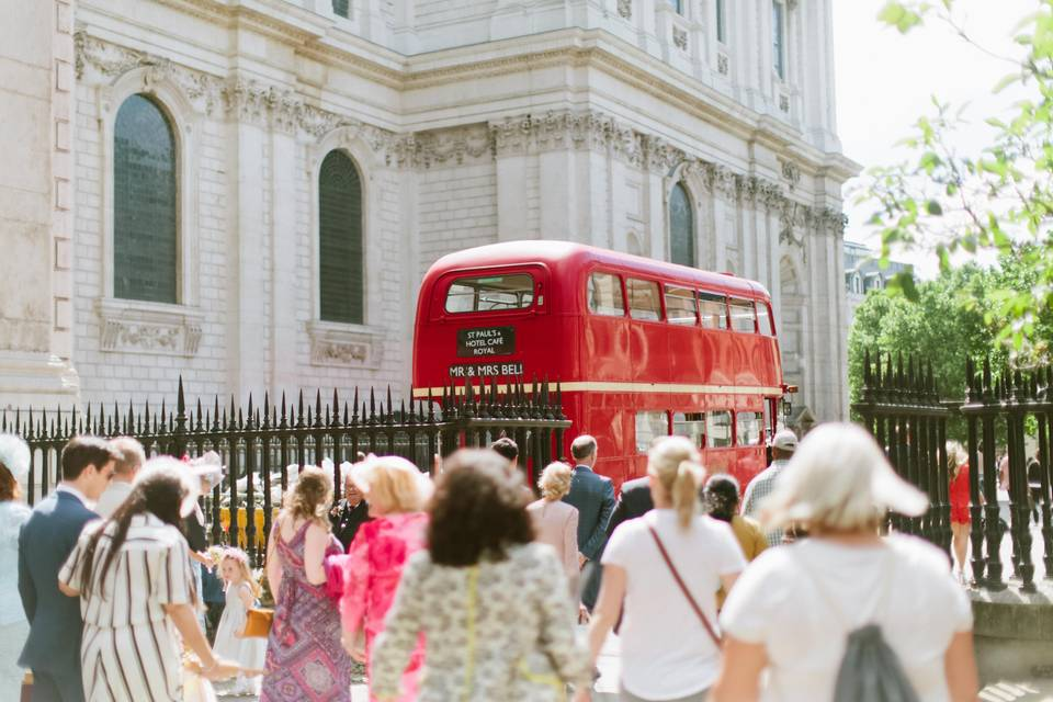 Routemaster at a wedding