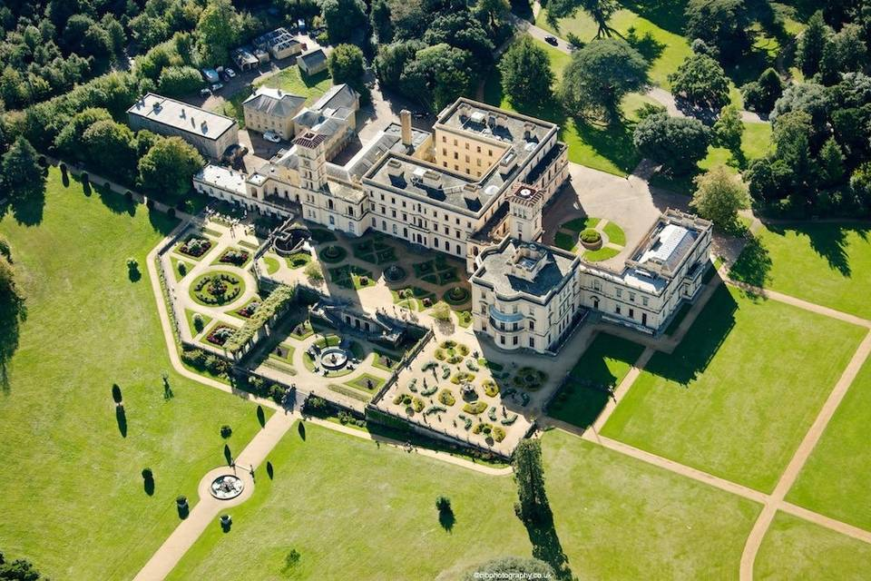 Aerial view of Osborne House