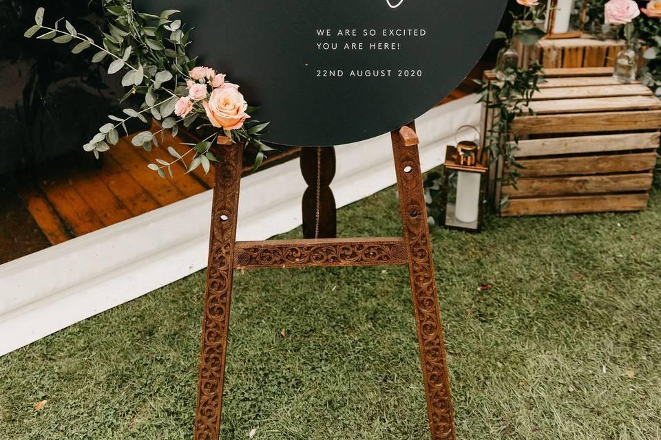 Circular Wedding Sign