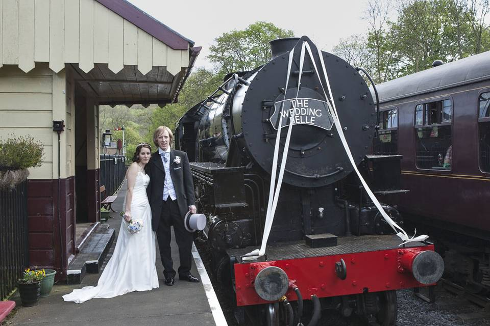 Couple and steam train
