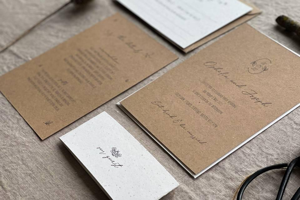 The Hannicombe Collection invitation suite