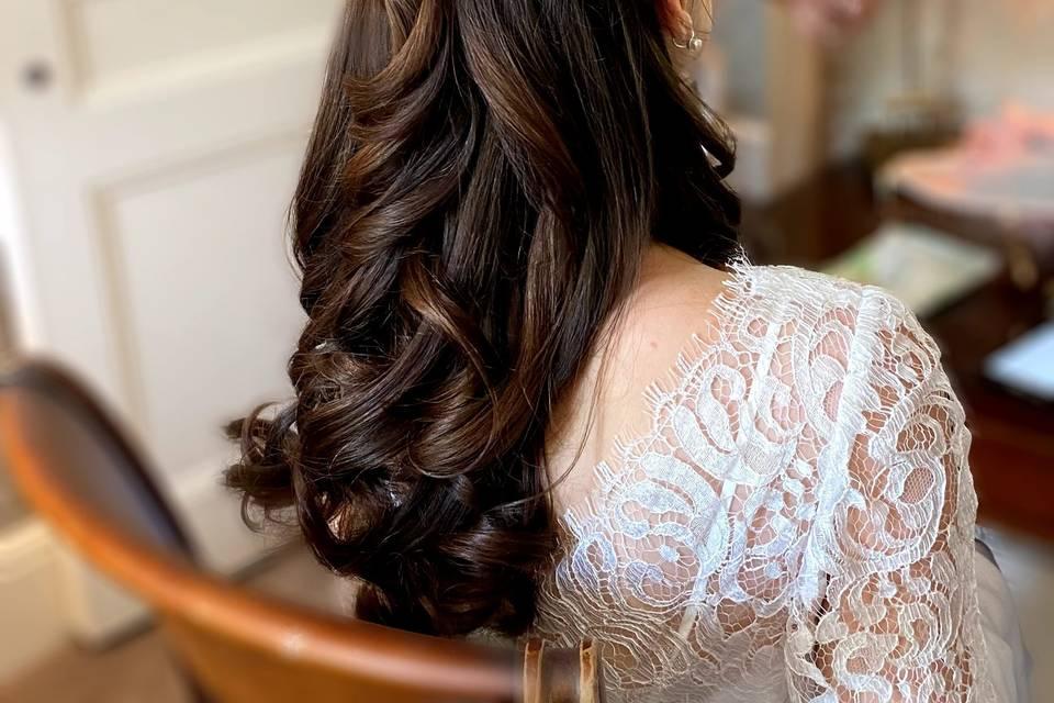 Half up half down, soft curls